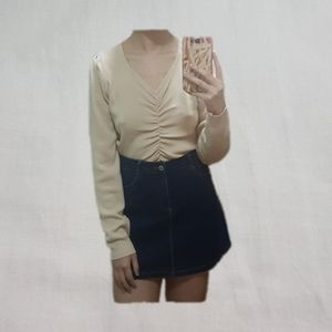 ruched knit sweater